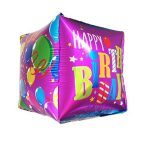 Balon Foil Happy Birthday Kotak Ungu