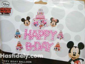 Balon Foil Happy Birthday 1 Set Mickey Mini
