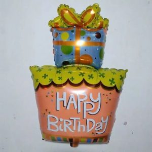 Balon Foil Happy Birthday Berbentuk Kado