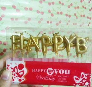 Lilin Happy Birthday Gold