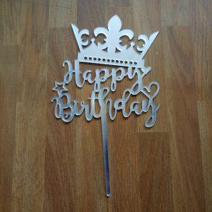 Topper kue acrylic happy birthday / tusuk kue / cake topper