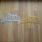 topper kue acrylic happy anniversary / tusuk kue / cake topper