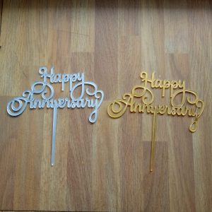 topper kue acrylic happy anniversary / tusuk kue / cake topper